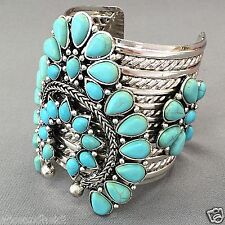 Antique Silver Turquoise Stone Squash Design Open Cuff Statement Bracelet