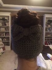 Crochet Ponytail/bun Beanie with Bow.  Choice Of Color.