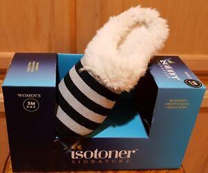 Isotoner Black/Gray Stripe Velour Hoodback Slippers - $28