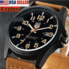 Men Women Military Leather Date Watches Quartz Analog Army Casual Wrist Watch US