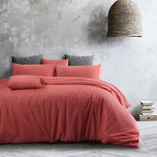Cotton Living Coral Doona Duvet Quilt Cover Pillowcases All Sizes Textured Print