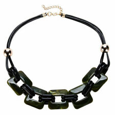 Office to Party Wear - Olive Green Ladies Acrylic and Faux Leather Necklace -