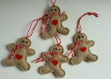 Felt Gingerbread Man x4 Scented cinnamon Handmade 6cm Christmas Tree Decoration