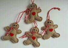 Felt Gingerbread Man x4 Scented cinnamon Handmade 6cm Christmas Tree Decoration