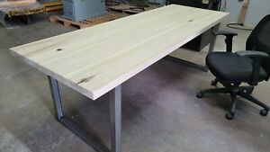Dining Table, Solid wood top, 1.75in thick, 2in square steel tube legs.