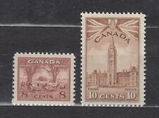 1942  #256 8¢ & #257 10¢ PARLIAMENT BUILDINGS KING GEORGE VI WAR ISSUE F-VFNH
