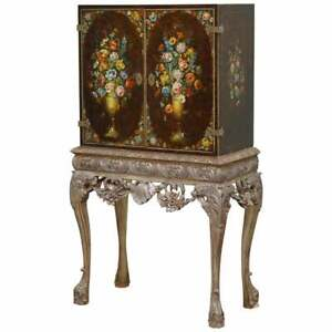 1840 ITALAIN VENETIAN CABINET ON STAND POLYCHROME PAINTED & LION HEADS CARVINGS