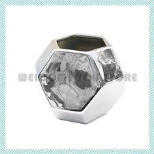 Modern Geometric Vase Silver Ceramic Decor Contemporary Vase Flower Decorative