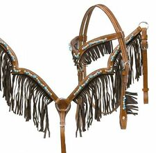 WESTERN HORSE LEATHER FRINGE BRIDLE & BREAST COLLAR PLATE W/ TURQUOISE BEADS