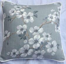 "New Season Laura Ashley Iona Slate Grey Fabric 16"" Cushion Cover Piped White"