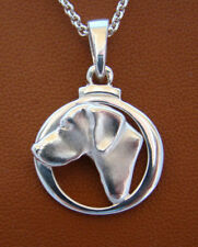 Sterling Silver German Shorthaired Pointer Small Head Study On A Circle Frame
