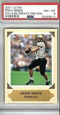 2001 Fleer Ultra Drew Brees Rookie College Greats Preview PSA 8 NM/Mint RC Pop.5