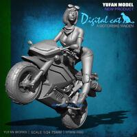 Sexy Girl on Motorbike Unpainted Resin Model Kits 75mm 1/24 YuFan Model Figure