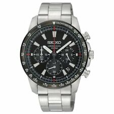 SEIKO SSB031PC Men's Watch Quartz Chronograph Tachymeter 100m Black