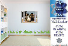 lego wall sticker 3d effect children's bedroom star wars wall decal mural.