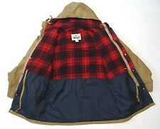 VTG WOOLRICH HOODED Red Buffalo PLAID WOOL LINING PARKA TAN JACKET COAT size M