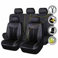 Car Seat Covers Black Set PU Leather Cushions Seat Protector Fit Universal Auto