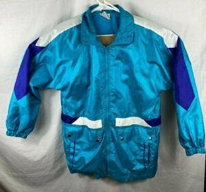 Vintage Track Suit Jacket Small Women Teal Purple Color Block Full Zip Button