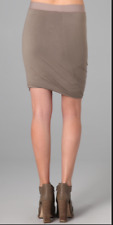 T BY ALEXANDER WANG Khaki Jersey Draped Hem Elasticated Waist Mini Skirt S