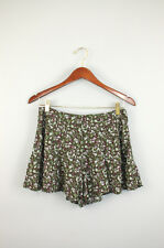 Free People green brown floral print rayon mni shorts sz 4
