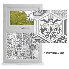 Etched Glass Effect Window Film, Stained Window Pattern VICTORIAN GREY TILE