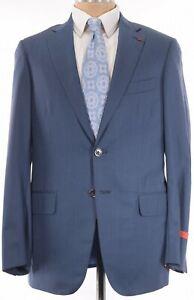 ISAIA NWT Suit Size 40R Light & Dark Blue Stripes 150s Wool & Silk Base S $3,795