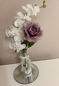 Artificial White Orchid And Purple Rose Arrangements In Heart Charm Glass Vase