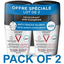 Vichy Homme 48HR Antiperspirant Deodorant Sensitive Skin Anti-Stains 2x50 ml
