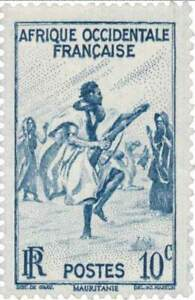 EBS French West Africa 1947 - Rifle Dance, Mauritania - FR-WA 24 MNH**