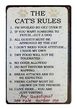 US SELLER, The Cat's Rules country barn pet tin metal sign retro home decor