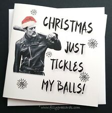 Funny Rude Walking Dead Christmas Card - Negan  - Comic Horror