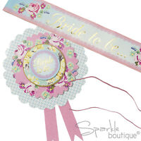 Classy Hen Night/Party ROSETTE & SASH for Bride-Shabby Chic/Floral Vintage Style