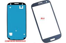 VETRO VETRINO SAMSUNG GALAXY S3 I9300 I9305 BLU + BIADESIVO NO TOUCH SCHERMO LCD
