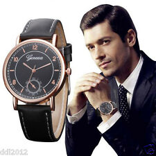 2017 Geneva Mens Vintage Watches Leather Band Analog Quartz Sport Wrist Watches