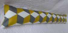 Draught Excluder Handmade Cotton Fabric Geometric Cube Retro Print Yellow Grey