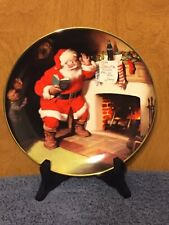 """Franklin Mint 1993 Coca Cola Santa Claus """"The Pause That Refreshes"""" Plate"""