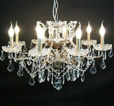 French Style Large Silver 8 Arm Branch French Shallow Cut Glass Chandelier