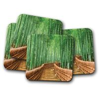 4 Set - Japanese Bamboo Bridge Coaster - Forest Kyoto Japan Travel Gift #14168