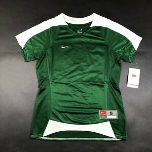NEW Nike Jersey T Shirt Womens S (4-6) Shiny Green White V Neck Soccer Fit Dry