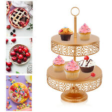 2-Tier Cupcake Plates Metal cake Tray Gold White Wedding Birthday Party Display