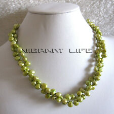"18"" 5-7mm Green Baroque 2Row Freshwater Pearl Necklace UK"