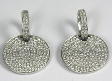 "Diamond Disc Drop Earrings 18k White Gold  with 2.94ct Diamonds at 3/4"" diameter"