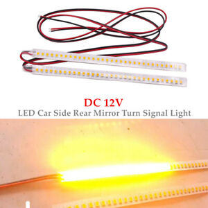 2x18CM Car Rearview Mirror 32LED Strip Light Flowing Turn Signal Side Lamp Amber