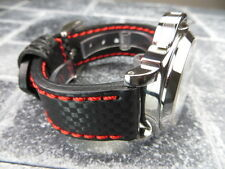 New CARBON Fiber 22mm LEATHER STRAP Band Black with Red Stitch PANERAI 22 mm