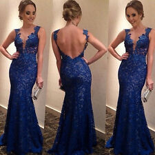 Women Sexy Black Sleevess Lace Dress Backless Evening Party Ball Gown Maxi Dress