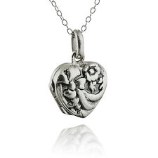 Small Bow Heart Locket - 925 Sterling Silver - Antique Replica Photo Flower NEW