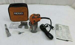 RIDGID 5.5 Amp 120V Corded Electric Compact Router Orange R2401 1-1/2 Peak HP