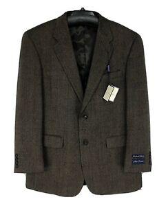 Alan Flusser Mens Blazer Jacket R42 Wool Cashmere Sport Coat Herringbone Brown