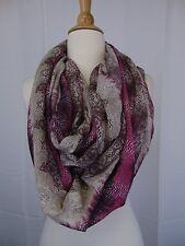 Echo Design Python Print Infinity Loop Cowl Knit Scarf Purple, Beige #4197