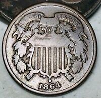 1864 Two Cent Piece 2C Higher Grade Good Date Civil War US Copper Coin CC5231